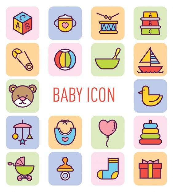 Jeu d'icône bébé mignon Vecteur Premium