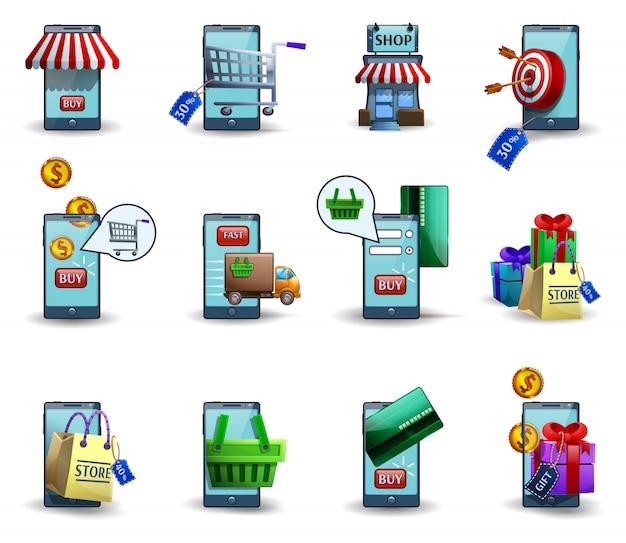 Jeu d'icônes 3d de commerce mobile m-commerce Vecteur gratuit