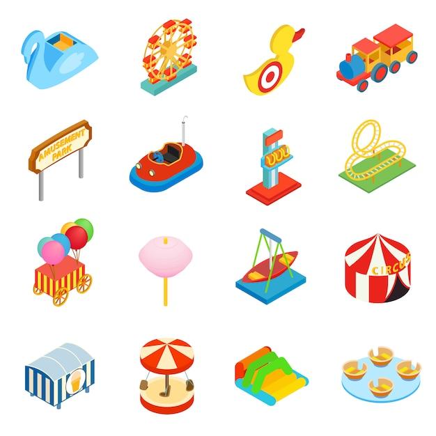 Jeu d'icônes 3d isométriques de parc d'attractions Vecteur Premium