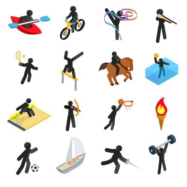 Jeu d'icônes 3d isométriques de sports d'été Vecteur Premium