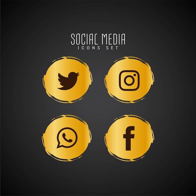 Jeu d'icônes abstraites de médias sociaux Vecteur gratuit