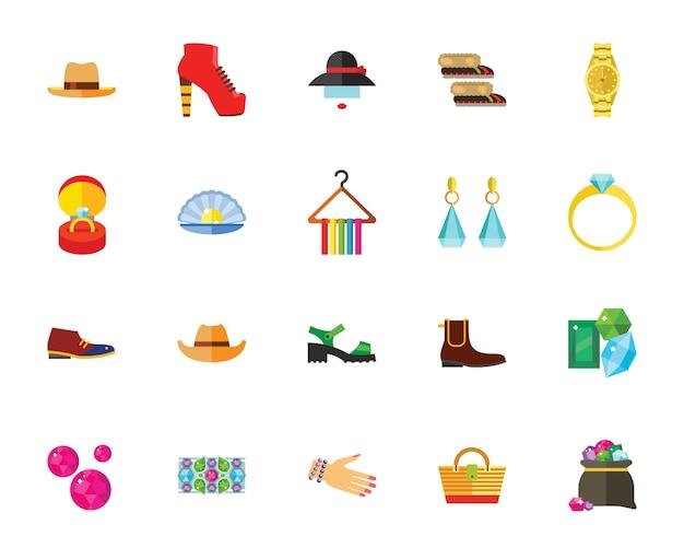 Jeu d'icônes accessoires et chaussures Vecteur gratuit