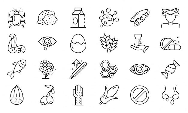 Jeu d'icônes d'allergie alimentaire, style de contour Vecteur Premium