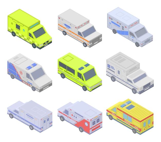 Jeu d'icônes d'ambulance, style isométrique Vecteur Premium