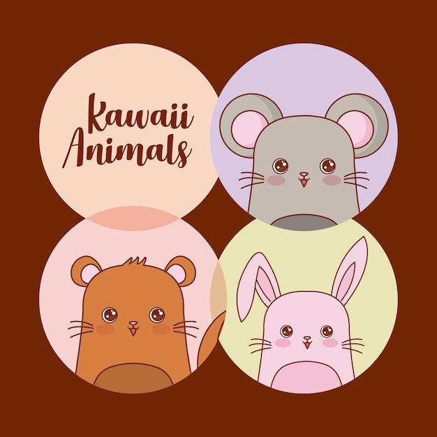 Jeu d'icônes d'animaux kawaii Vecteur Premium