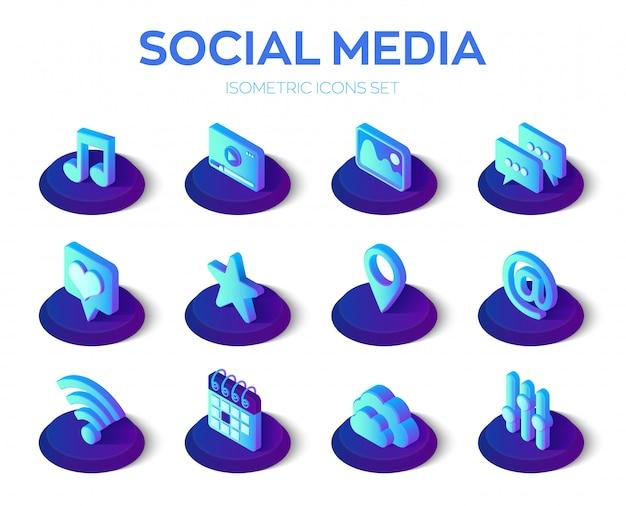 Jeu d'icônes d'applications de médias sociaux Vecteur Premium