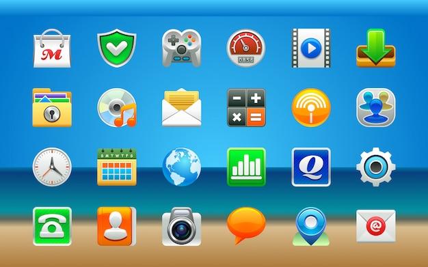 Jeu d'icônes d'applications Vecteur Premium