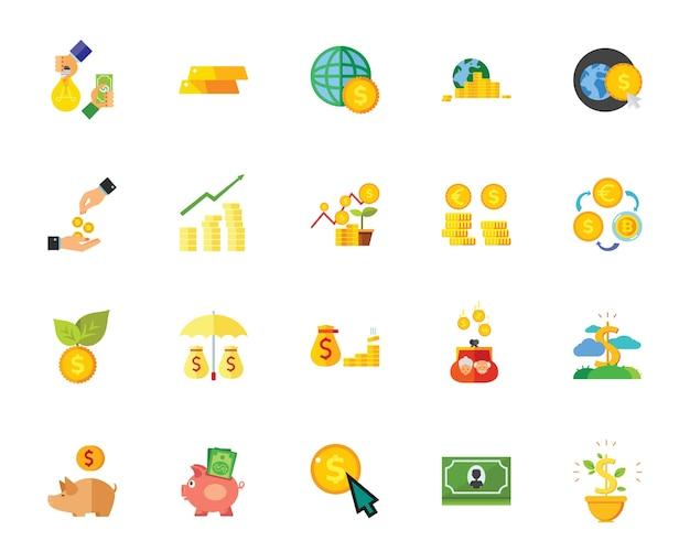 Jeu d'icônes de l'argent Vecteur gratuit