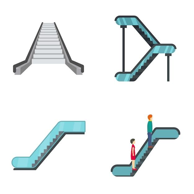 Jeu D'icônes Ascenseur Escalator Vecteur Premium