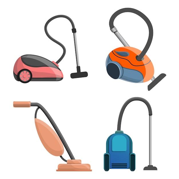 Jeu d'icônes d'aspirateur, style cartoon Vecteur Premium