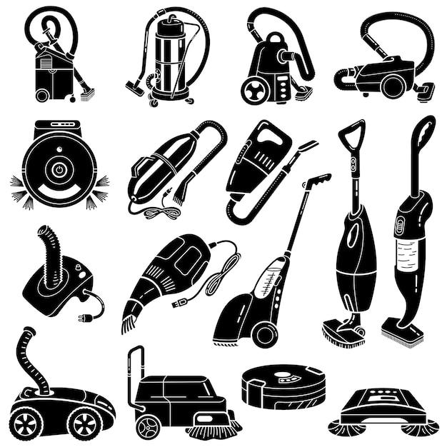 Jeu d'icônes d'aspirateur, style simple Vecteur Premium