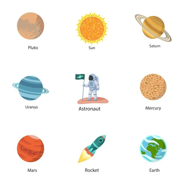 Jeu d'icônes d'astronomie. ensemble plat de 9 icônes d'astronomie Vecteur Premium