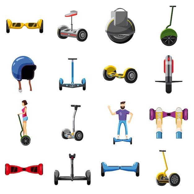 Jeu d'icônes de balance scooter, style cartoon Vecteur Premium