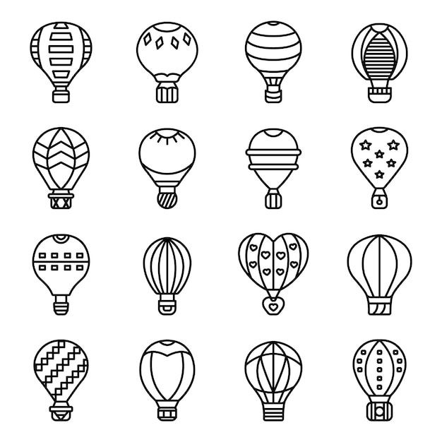 Jeu d'icônes de ballon à air, style de contour Vecteur Premium