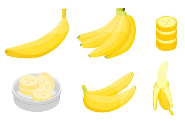 Jeu d'icônes de banane, style isométrique Vecteur Premium