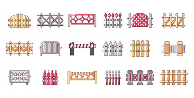 Jeu d'icônes de barrière. ensemble de dessin animé d'icônes vectorielles barrière isolé Vecteur Premium
