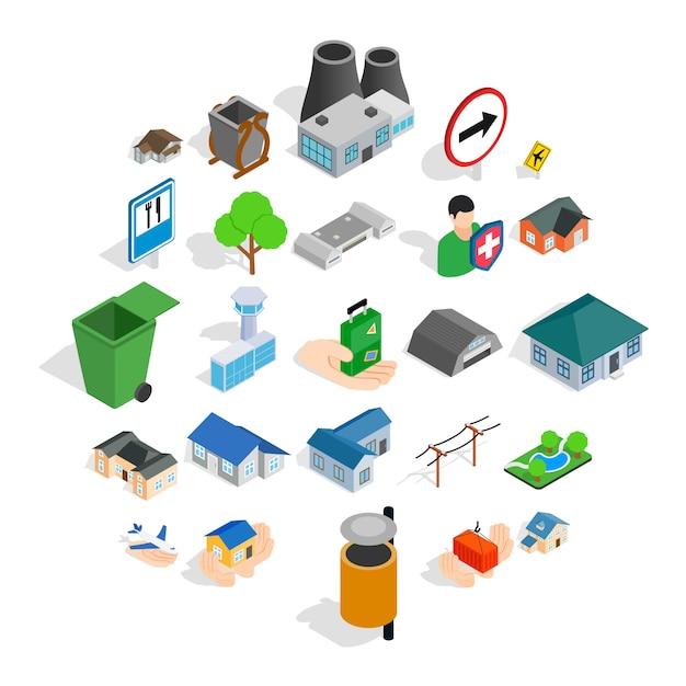 Jeu d'icônes de bâtiments, style isométrique Vecteur Premium