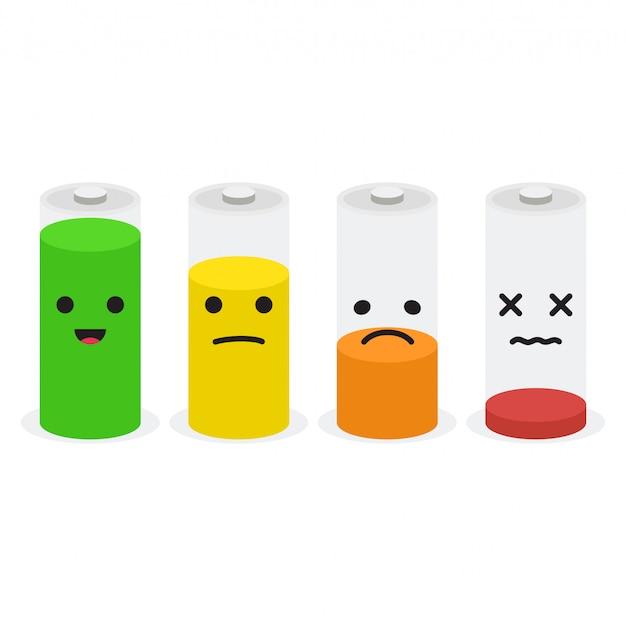 Jeu d'icônes de batterie. ensemble d'indicateurs de niveau de charge de la batterie avec des sourires Vecteur Premium
