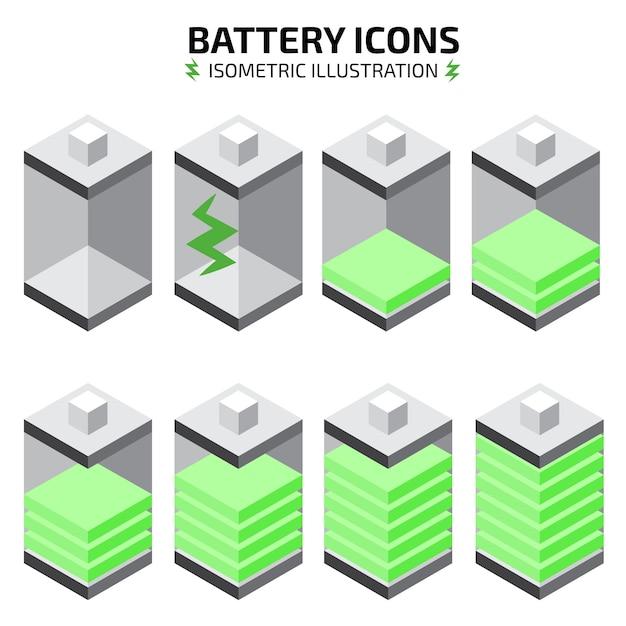 Jeu d'icônes de batterie isométrique Vecteur Premium