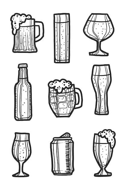 Jeu d'icônes de bière Vecteur Premium