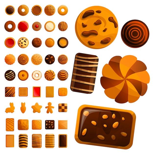 Jeu d'icônes de biscuit Vecteur Premium