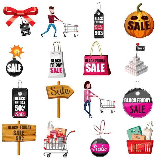 Jeu d'icônes black friday sales, style cartoon Vecteur Premium