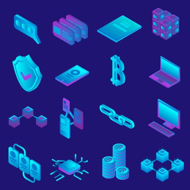Jeu d'icônes blockchain. ensemble isométrique d'icônes vectorielles blockchain pour la conception web Vecteur Premium