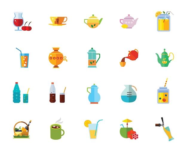 Jeu d'icônes de boissons Vecteur gratuit