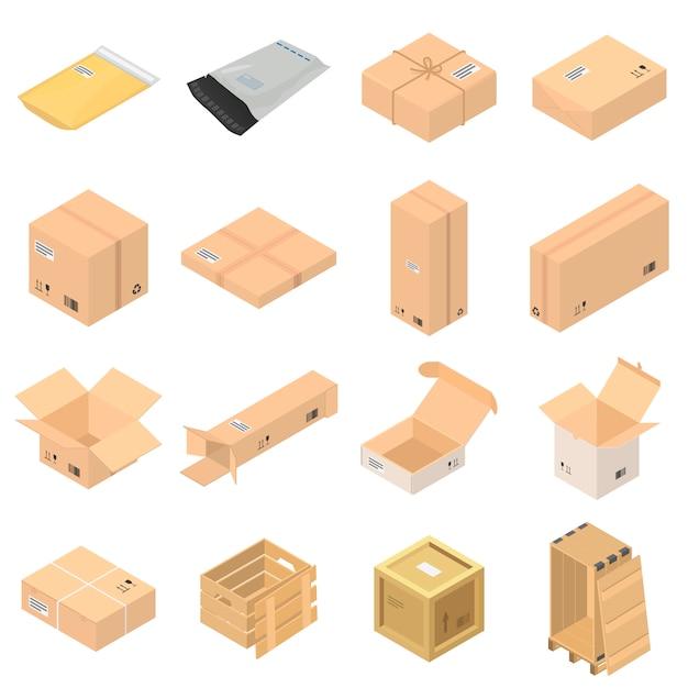 Jeu D'icônes De Boîte D'emballage De Colis Vecteur Premium