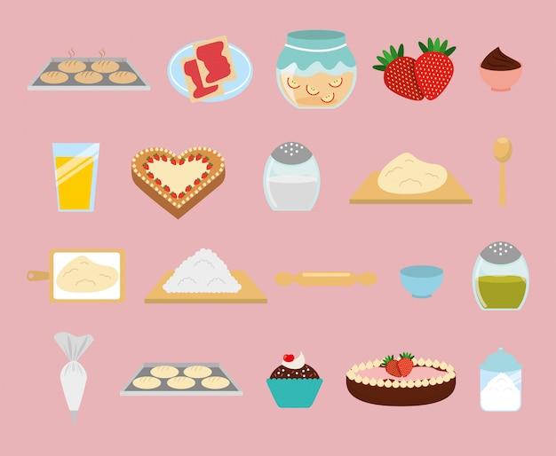 Jeu D'icônes De Boulangerie Sucrée Vecteur gratuit