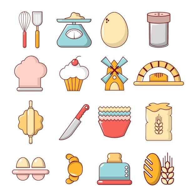 Jeu d'icônes de boulangerie Vecteur Premium