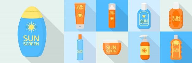 Jeu d'icônes de bouteille de crème solaire, style plat Vecteur Premium