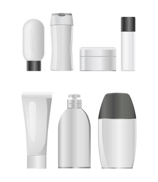 Jeu D'icônes De Bouteille En Plastique Cosmétique Vecteur Premium