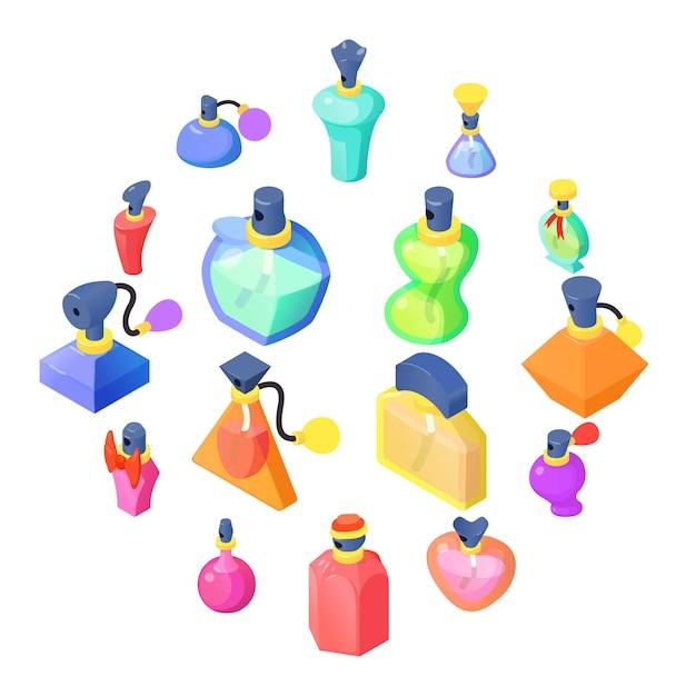 Jeu D'icônes De Bouteilles De Parfum, Style Isométrique Vecteur Premium