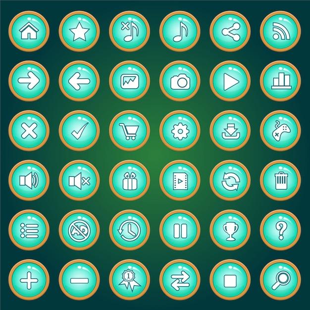 Jeu D'icônes Et De Boutons De Couleur Verte Pour Les Jeux. Vecteur Premium