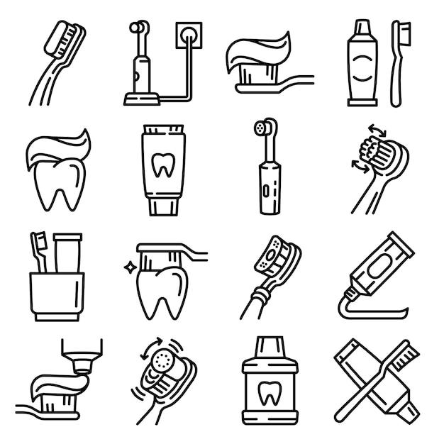 Jeu d'icônes de brosse à dents, style de contour Vecteur Premium