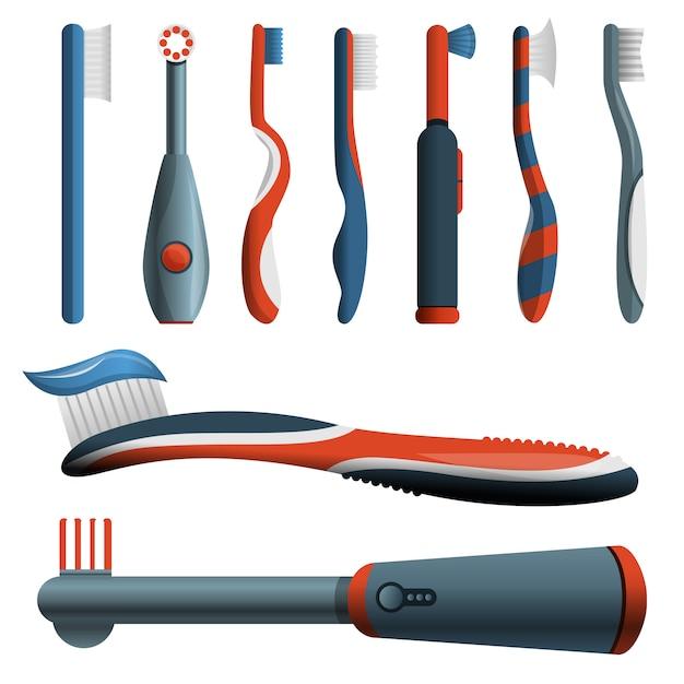 Jeu d'icônes de brosse à dents Vecteur Premium