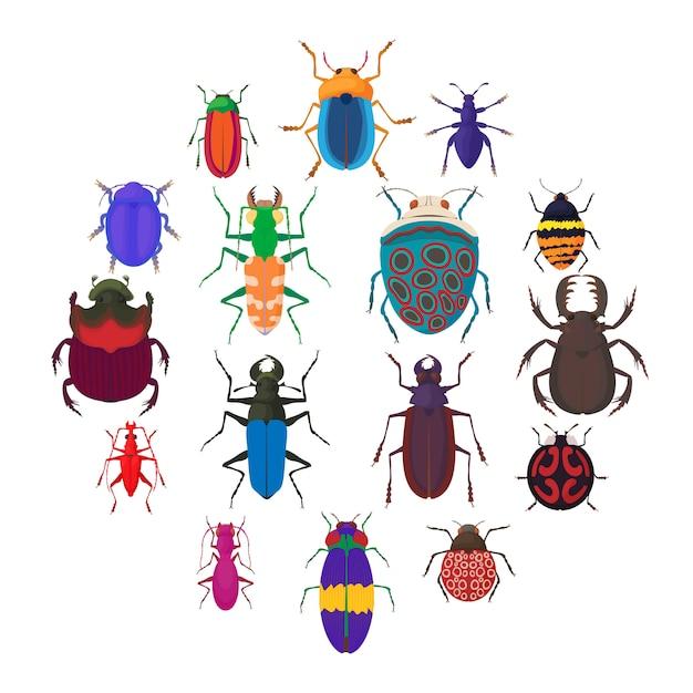 Jeu d'icônes de bugs insectes, style cartoon Vecteur Premium