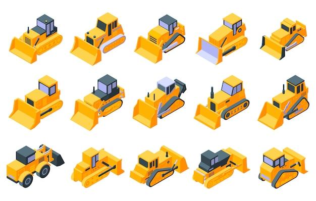 Jeu D'icônes De Bulldozer, Style Isométrique Vecteur Premium