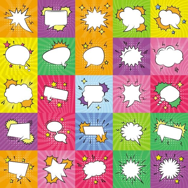 Jeu d'icônes de bulles de discours vides Vecteur Premium