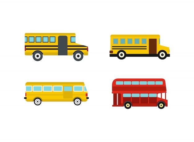 Jeu d'icônes de bus. ensemble plat de collection d'icônes de vecteur de bus isolée Vecteur Premium