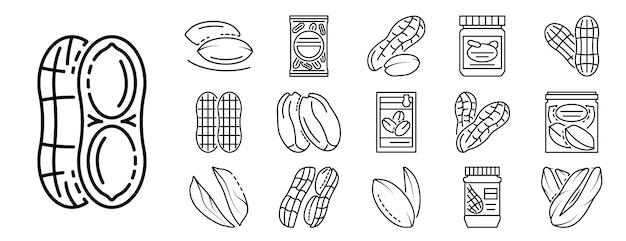 Jeu D'icônes De Cacahuète, Style De Contour Vecteur Premium