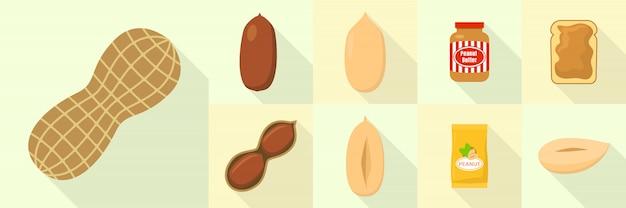 Jeu d'icônes de cacahuète, style plat Vecteur Premium