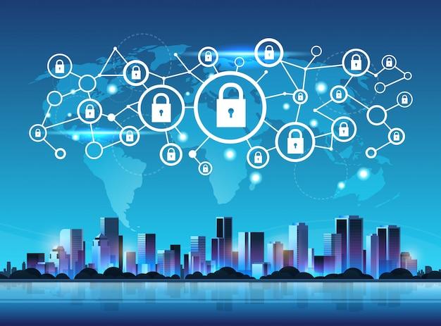 Jeu d'icônes de cadenas système de sécurité réseau Vecteur Premium