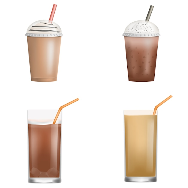 Jeu d'icônes de café de glace fraîche. ensemble réaliste d'icônes vectorielles de café de glace fraîche pour la conception web isolée sur fond blanc Vecteur Premium
