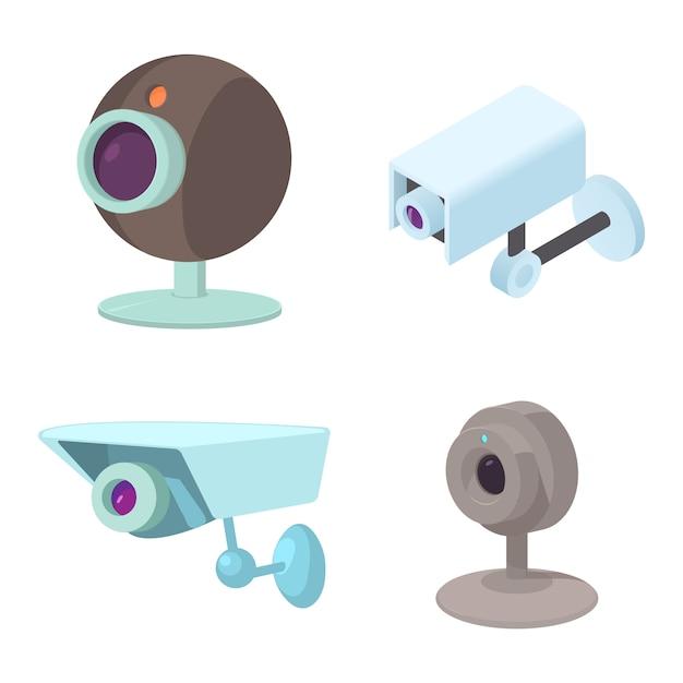 Jeu d'icônes de caméra de sécurité Vecteur Premium
