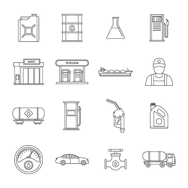 Jeu d'icônes de carburant essence station essence Vecteur Premium