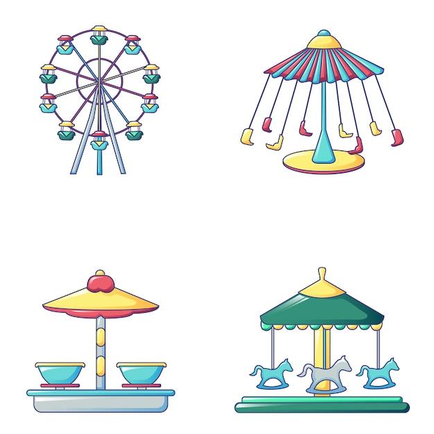 Jeu d'icônes de carrousel, style cartoon Vecteur Premium