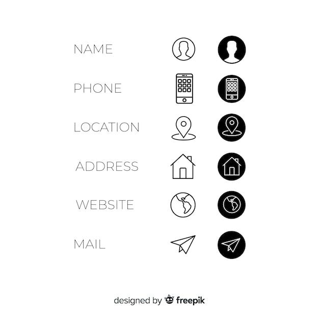 Jeu d'icônes de carte de visite Vecteur gratuit