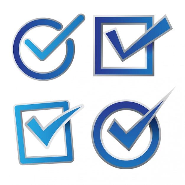 Jeu d'icônes de case à cocher bleu Vecteur Premium